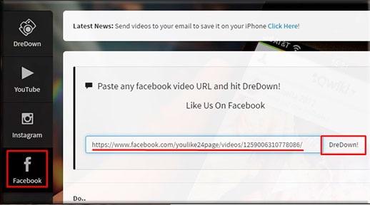 как скачать видео с фейсбука Dredown