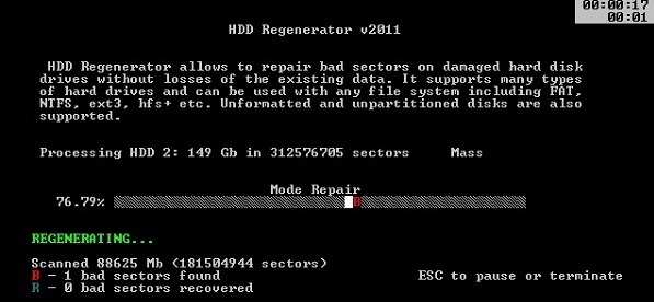 процесс работы в HDD Scan