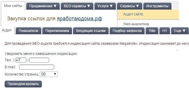 мегаиндекс анализ сайта