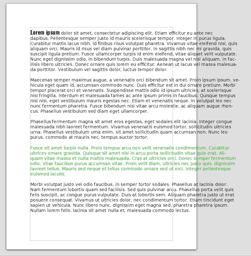 пример форматирования в libre