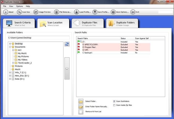 внешний вид приложения Duplicate Cleaner