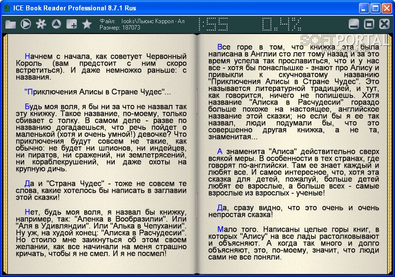 внешний вид программы ICE Book Reader Professional
