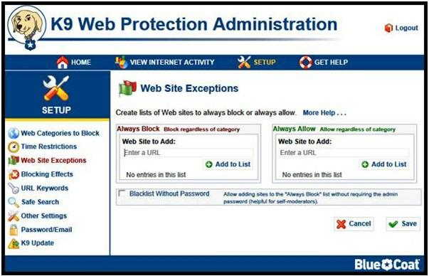 настройки K9 WebProtection