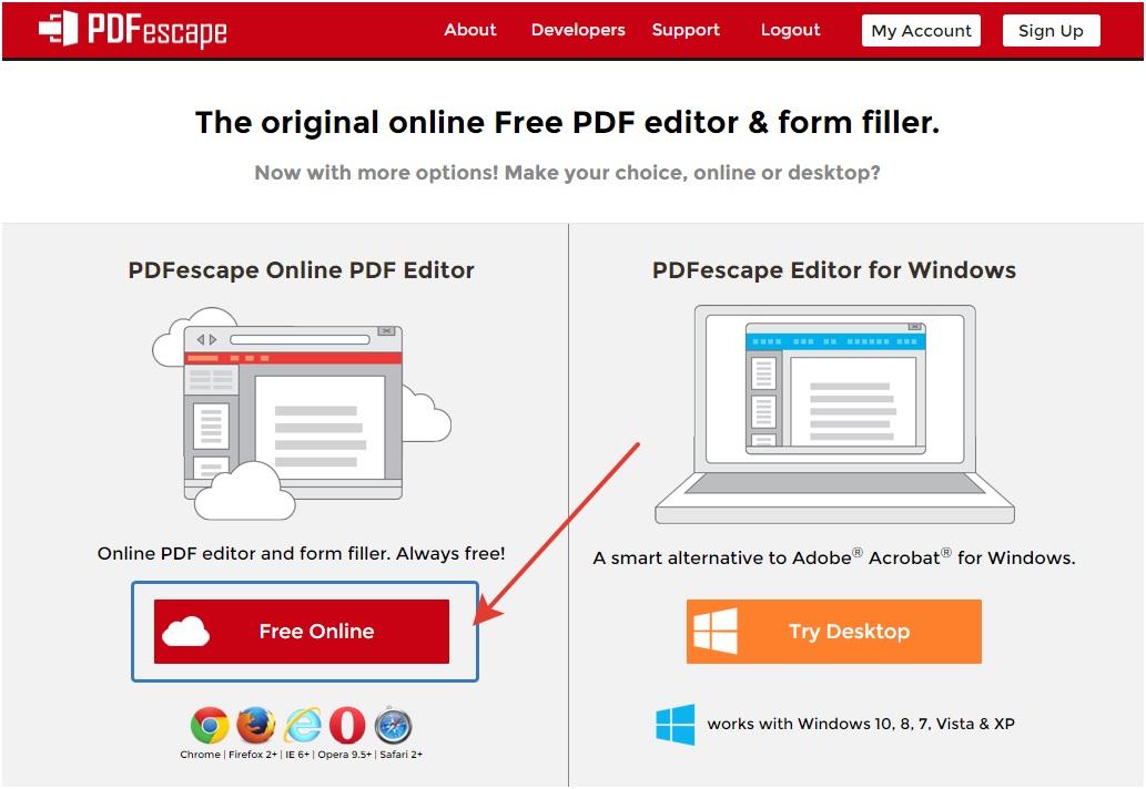 работа с сервисом pdfescape
