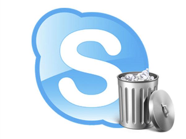 логотип скайп с корзиной