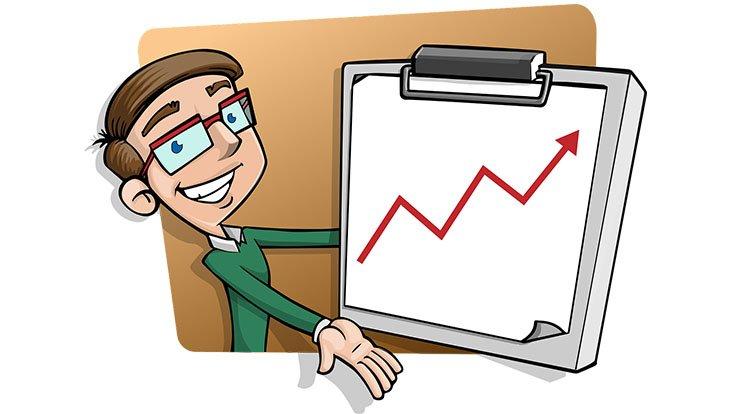 график растет на планшете